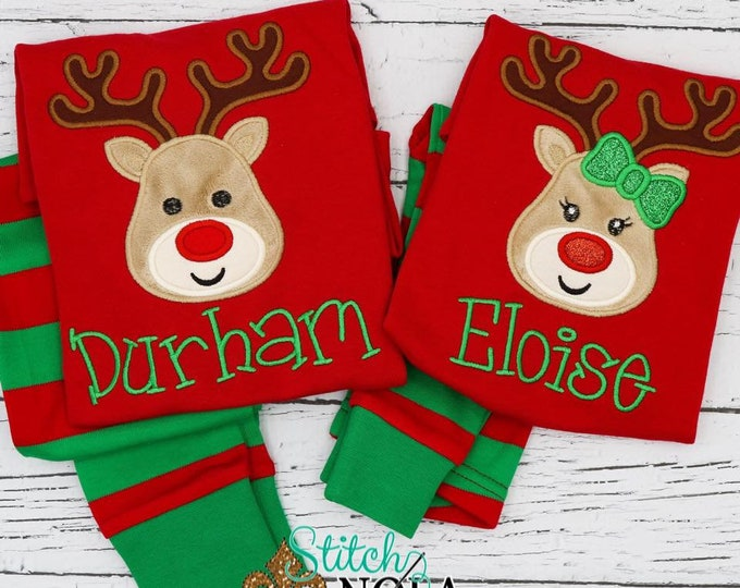 Featured listing image: Reindeer Applique Red & Green Christmas Pajamas, Reindeer with Bow Applique, Boy Reindeer Applique, XMAS Pajamas, Christmas Applique