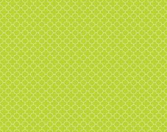 Lime Mini Quatrefoil Fabric, Riley Blake, 100% Cotton, Lime Quatrefoil