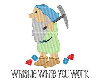Working Dwarf, Mine Dwarf, Magical Vacation Sketch Embroidery