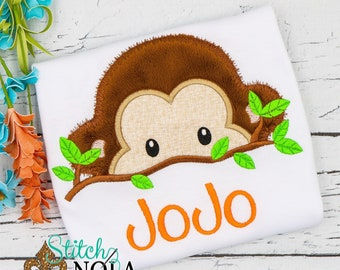 Monkey Applique, Zoo Animal Applique, Zoo Animal Shirt