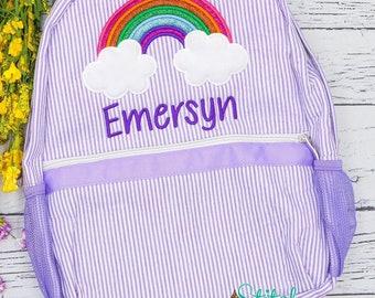 Seersucker Backpack with rainbow Seersucker Diaper Bag, Seersucker School Bag, Seersucker Bag, Diaper Bag, School Bag, Book Bag, Backpack