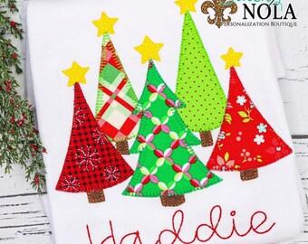 Christmas Tree Applique Shirt, Chirstmas Tee, Personalized Christmas Shirt