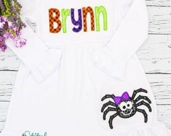 Name Applique Halloween Dress with Spider Applique, Halloween Applique, Spider Applique, Halloween Dress