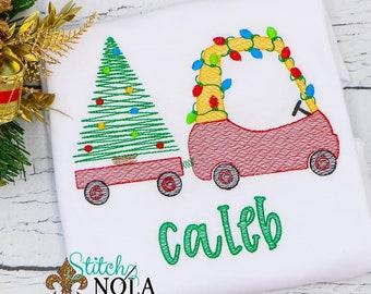 Vintage Christmas Coupe And Tree Wagon Embroidery, Coupe With Tree, Wagon With Xmas Tree, Christmas Sketch Design, Christmas Shirt