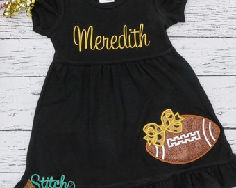 Football Dress, Football with Bow Applique, Glitter Football Dress