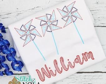 Patriotic Pinwheel Sketch Embroidery, Pinwheel Trio