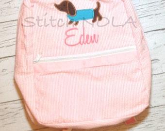 Seersucker Backpack with Dachshund Dog, Seersucker Diaper Bag, Seersucker School Bag, Seersucker Bag, Diaper Bag, School Bag, Book Bag, Back