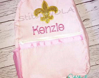 Seersucker Backpack with Gold Glitter Fleur de Lis, Seersucker Diaper Bag, Seersucker School Bag, Seersucker Bag, Diaper Bag, School Bag, Bo