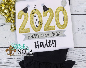 New Year Applique Top and Bottom Set, New Years Eve Applique Set, Girl New Year Appliqué Outfit, New Year Outfit
