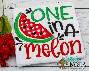 One in a Melon Applique, Watermelon Applique, Watermelon Tee, Spring Applique, Summer Applique