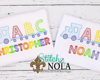 School Train ABC Blocks Personalized, Back to School Outfit, Train Embroidery, Pre-School Outfit, Kindergarten Shirt