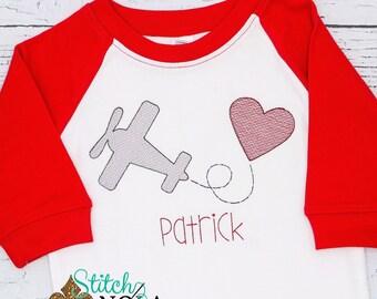 Valentines Airplane with Heart Sketch Embroidery, Valentines Day Sketch Embroidery, Valentines Day Shirt, Boy Valentines Shirt
