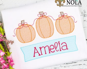 Sketch Pumpkin Trio with Sketch Name Box Embroidery, Vintage Pumpkin Shirt, Pumpkin Embroidery, Pumpkin Patch Outfit, Pumpkin Patch Embroide