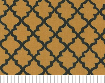 Gold and Black Mini Quatrefoil Fabric, Fabric Finders,100 percent cotton, Black and Gold Quatrefoil
