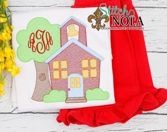 School House Personalized Top and Shorts Set, Back to School Outfit, School House Embroidery, Pre-School Outfit, Kindergarten Shirt