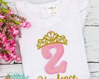 Tiara Number Birthday Applique, Birthday Princess Applique, Tiara Birthday Shirt