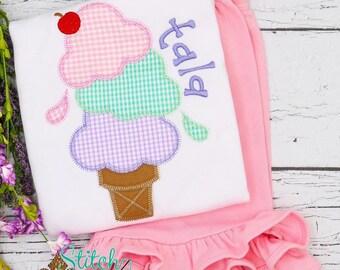 Girls Ice Cream Birthday Shirt and Shorts, Ice Cream Cone Birthday Outfit, Girls Birthday Outfit