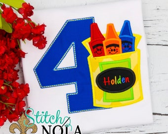 Crayons Birthday Applique, Crayons Applique, Crayon Birthday Shirt, Crayons Shirt