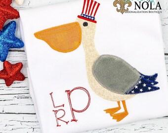 Patriotic Pelican Applique, Patriotic Applique, Fourth of July Shirt, Memorial Day Shirt, Pelican Shirt, Toddler Pelican Tee