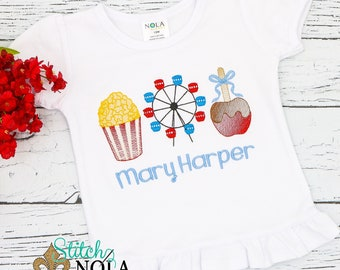 Fair Trio Sketch Embroidery, Popcorn Embroidery, Ferris Wheel Embroidery, Candy Apple Embroidery, Carnival Shirt, Carnival Trio Embroidery