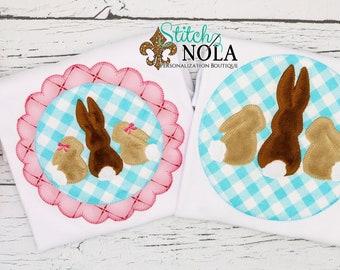 Bunny Circle appliqué, Bunny Scallop Circle Applique, Bunny Applique, Easter Applique