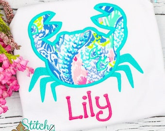 Lilly Pulitzer Fabric Crab Applique, Crab Applique, Crab Shirt, Girly Crab Applique