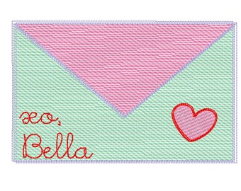 Valentine's Day Envelope with Heart Sketch Embroidery, Valentines Day Letter Embroidery