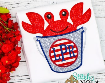 Beach Crab Applique, Crab Bucket Applique, Beach Applique, Crab Applique, Spring Applique, Summer Applique