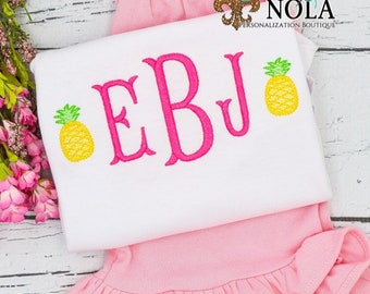 Monogram with Pineapples Top and Bottom Set, Pineapple Monogram