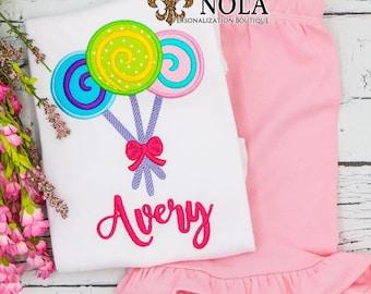 Lollipop Applique Top And Bottom Set, Sweet Shop Birthday Top And Bottom Set, Candy Birthday Outfit ,Candy Land Birthday, Lollipop Birthday
