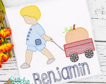Child Pulling Pumpkin Wagon Embroidery, Vintage Pumpkin Shirt,  Pumpkin Shirt, Pumpkin Patch Outfit