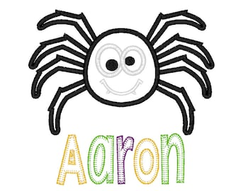 Spider appliqué with name applique, spider shirt, Halloween shirt, girl spider, boy spider