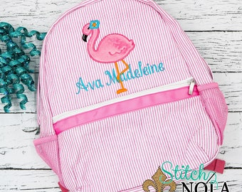 Seersucker Backpack with Flamingo, Seersucker Diaper Bag, Seersucker School Bag, Seersucker Bag, Diaper Bag, School Bag, Book Bag, Backpack