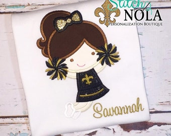 Black and Gold Cheerleader Shirt T-Shirt or Bodysuit