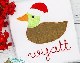 Mallard Duck with Santa Hat, Santa Duck Applique, Christmas Duck Applique