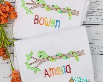 Snake on a Branch Sketch Embroidery, Back to School Shirt, Toddler Snake Shirt