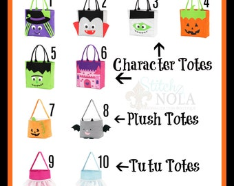 Halloween Totes, Trick or Treat Totes, Trick or Treat Bag, Candy Bag, Halloween Bag, Halloween Character Tote, Trick or Treat