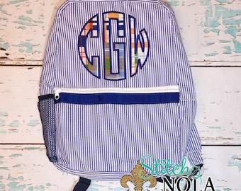 Seersucker Backpack with Circle Monogram in Madras Plaid, Seersucker Diaper Bag, Seersucker School Bag, Seersucker Bag, Diaper Bag, School