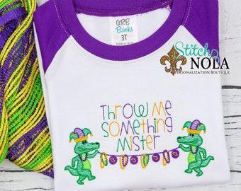 Mardi Gras Gators Holding Beads Sketch Embroidery, Throw Me Something Mister, Mardi Gras Shirt, Mardi Gras Beads, Mardi Gras