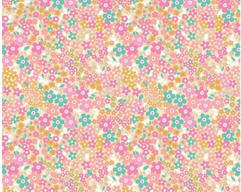 FORGET ME NOT Fields Pink  by Riley Blake Fabrics, 100% Cotton, Floral Cotton Fabric