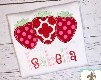 Personalized Name Tee with Strawberry Trio, Personalized Bubble, Tee, Gown, Bib, Burp Cloth or Bodysuit