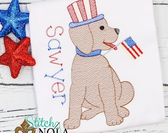 Patriotic Dog Sketch Embroidery, Patriotic Lab Embroidery, Fourth of July Monogrammed Shirt