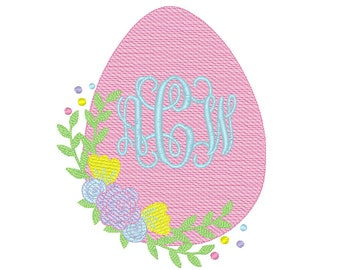 Floral Easter Egg Sketch Embroidery, Floral Egg, Easter Egg