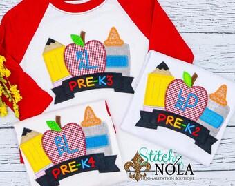 Back to School Applique Shirt, Monogrammed School Shirt, Pencil, Apple and Glue Trio Shirt