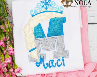 Ice Queen Alpha Applique Top And Bottom Set, Ice Princess Letter Applique, Glitter Alpha With Tiara, Girls Alpha Applique Outfit
