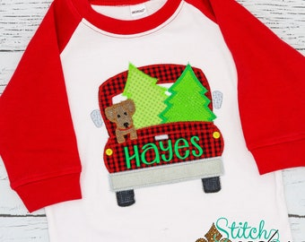 Christmas Truck with Dog Applique, XMAS Truck Applique, XMAS Dog Applique, Santa Shirt, Christmas Applique