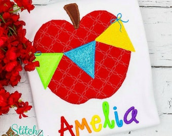 Apple with Bunting Flag Applique, Apple Applique, Back to School Applique, Apple Applique