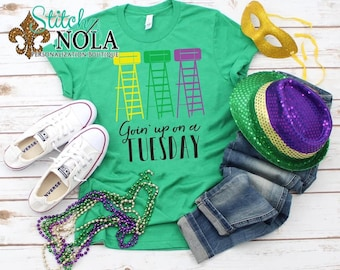 Mardi Gras Ladder Trio Screen Print UNISEX Shirt