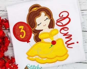 Belle Inspired Birthday Applique, Beauty and the Beast Inspired Birthday applique, Belle Applique, Beauty and the Beast Applique