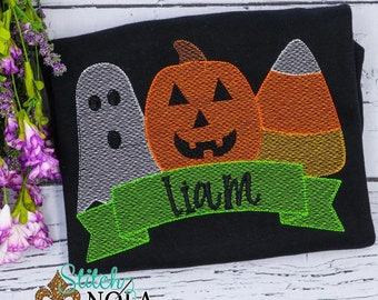 Personalized Halloween Sketch Trio, Pumpkin, Ghost, Candy Corn Sketch Trio with Banner, Halloween Shirt